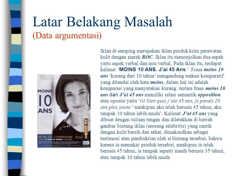 Latar Belakang Masalah (Data argumentasi) Iklan di samping merupakan iklan produk krim perawatan kulit dengan merek ROC. Iklan itu menonjolkan dua asp
