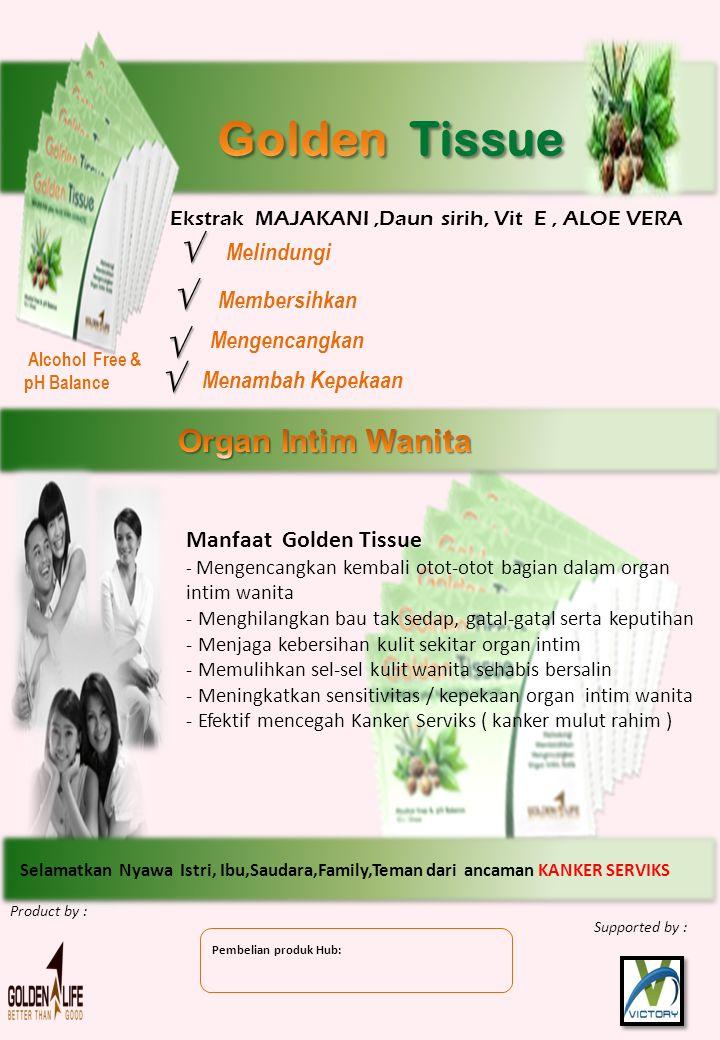Alcohol Free & pH Balance Manfaat Golden Tissue - Mengencangkan kembali otot-otot bagian dalam organ intim wanita - Menghilangkan bau tak sedap, gatal