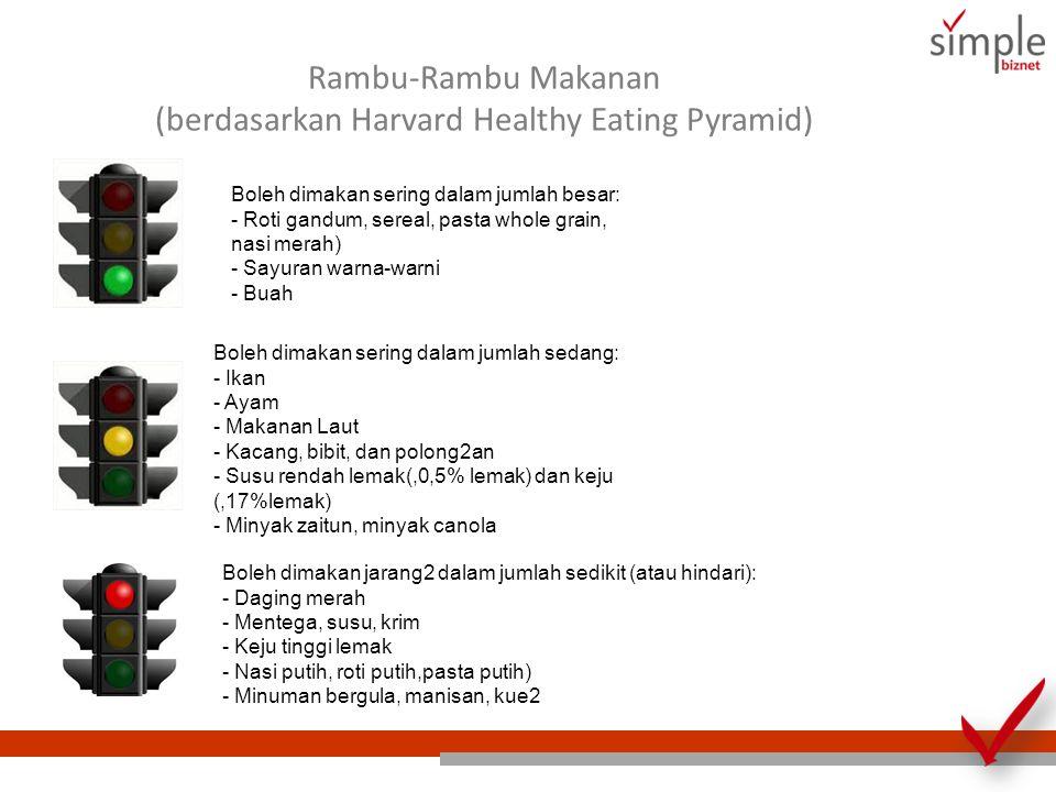 Rambu-Rambu Makanan (berdasarkan Harvard Healthy Eating Pyramid) Boleh dimakan sering dalam jumlah besar: - Roti gandum, sereal, pasta whole grain, na