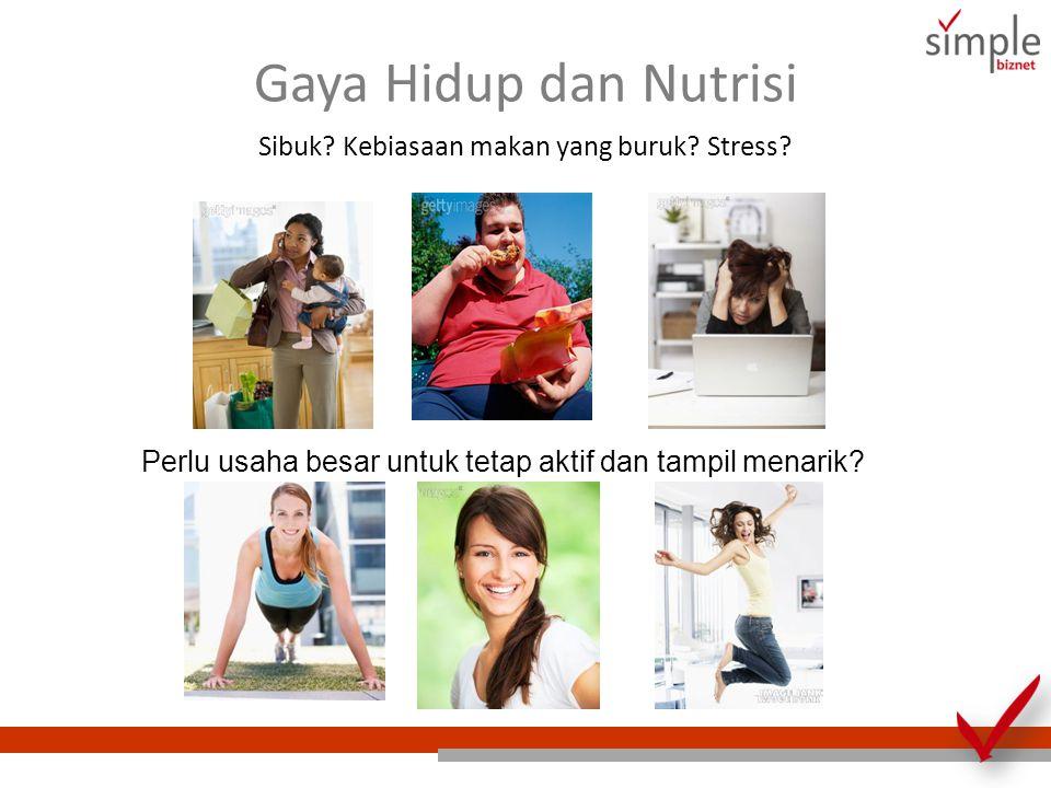 Gaya Hidup dan Nutrisi Sibuk? Kebiasaan makan yang buruk? Stress? Perlu usaha besar untuk tetap aktif dan tampil menarik?