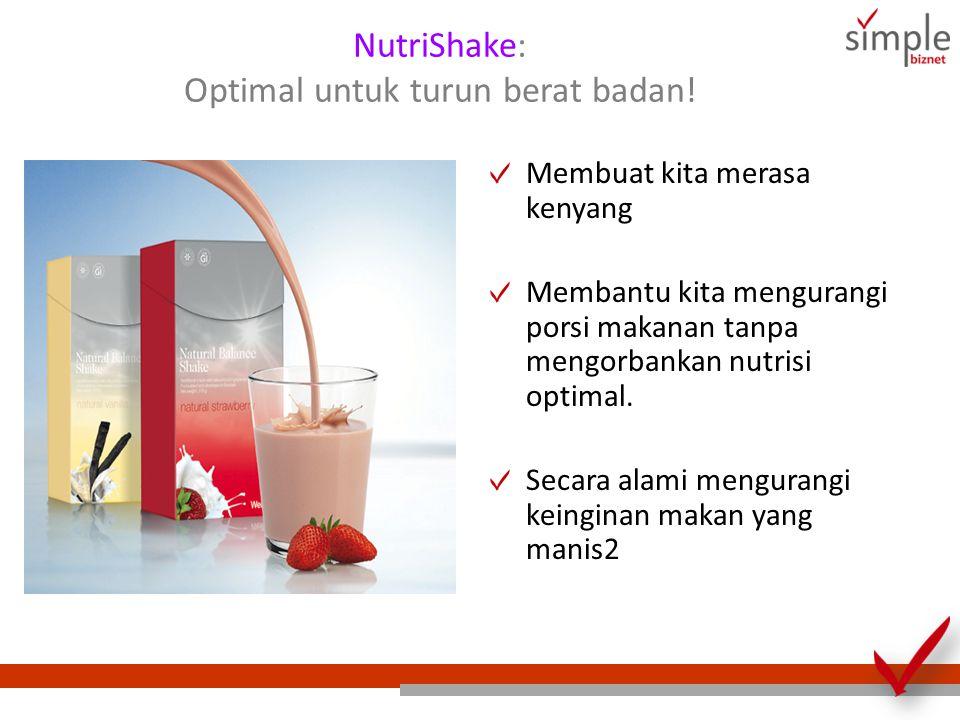 NutriShake: Optimal untuk turun berat badan! Membuat kita merasa kenyang Membantu kita mengurangi porsi makanan tanpa mengorbankan nutrisi optimal. Se