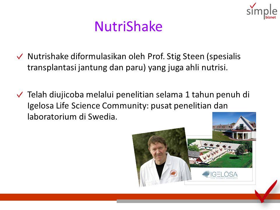 NutriShake Nutrishake diformulasikan oleh Prof. Stig Steen (spesialis transplantasi jantung dan paru) yang juga ahli nutrisi. Telah diujicoba melalui