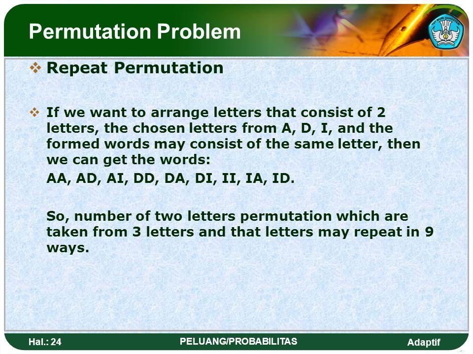 Adaptif Hal.: 23 PELUANG/PROBABILITAS Masalah Permutasi  Permutasi berulang JJika kita inin menyusun kata yang terdiri 2 huruf, yang dipilih dari h