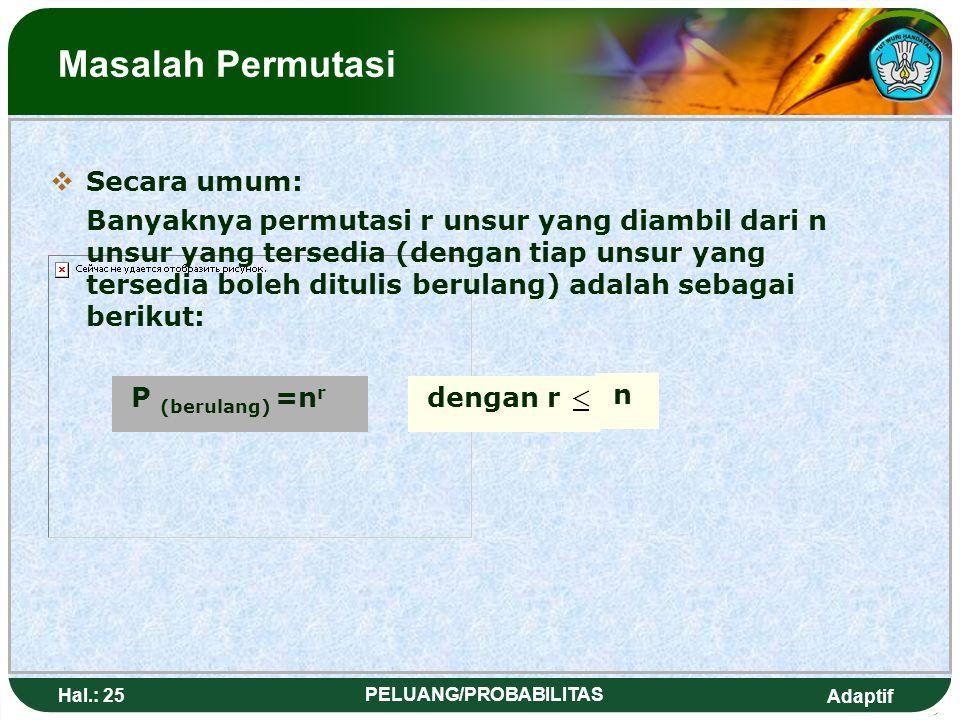 Adaptif Hal.: 24 PELUANG/PROBABILITAS Permutation Problem  Repeat Permutation IIf we want to arrange letters that consist of 2 letters, the chosen