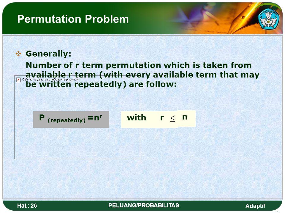 Adaptif Hal.: 25 PELUANG/PROBABILITAS Masalah Permutasi SSecara umum: Banyaknya permutasi r unsur yang diambil dari n unsur yang tersedia (dengan ti