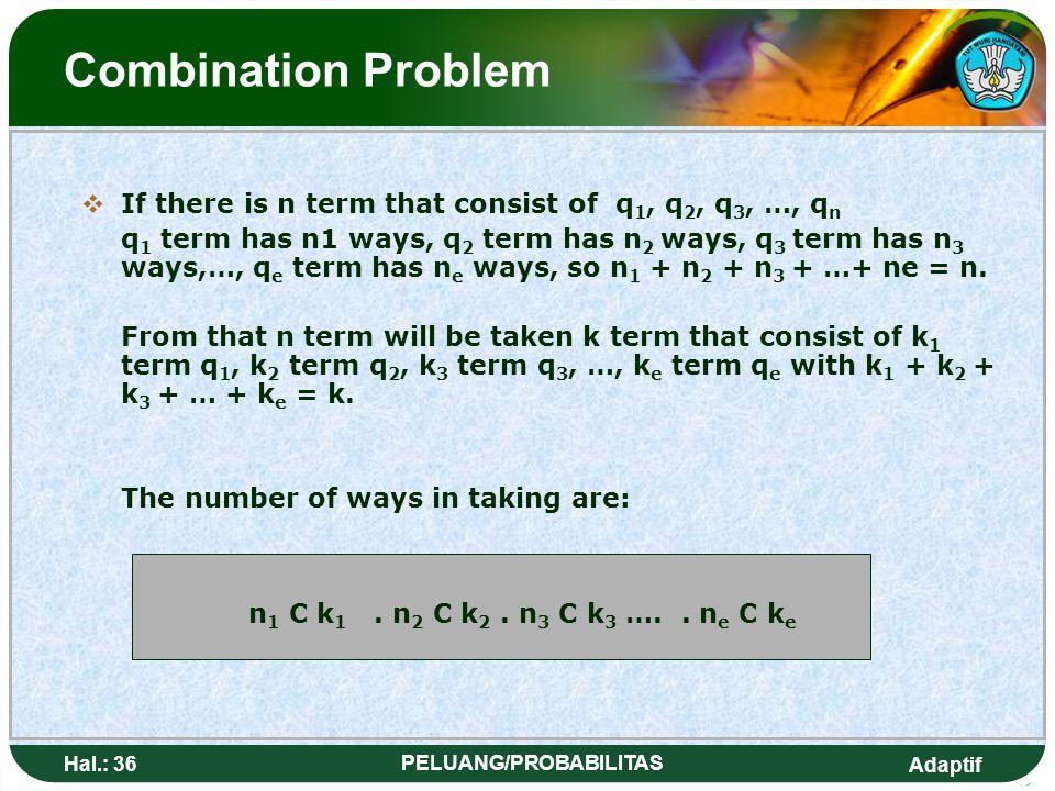 Adaptif Hal.: 35 PELUANG/PROBABILITAS Masalah Kombinasi MMisal terdapat n unsur yang terdiri dari q 1, q 2, q 3, …, q n Unsur q 1 ada sebanyak n1, u