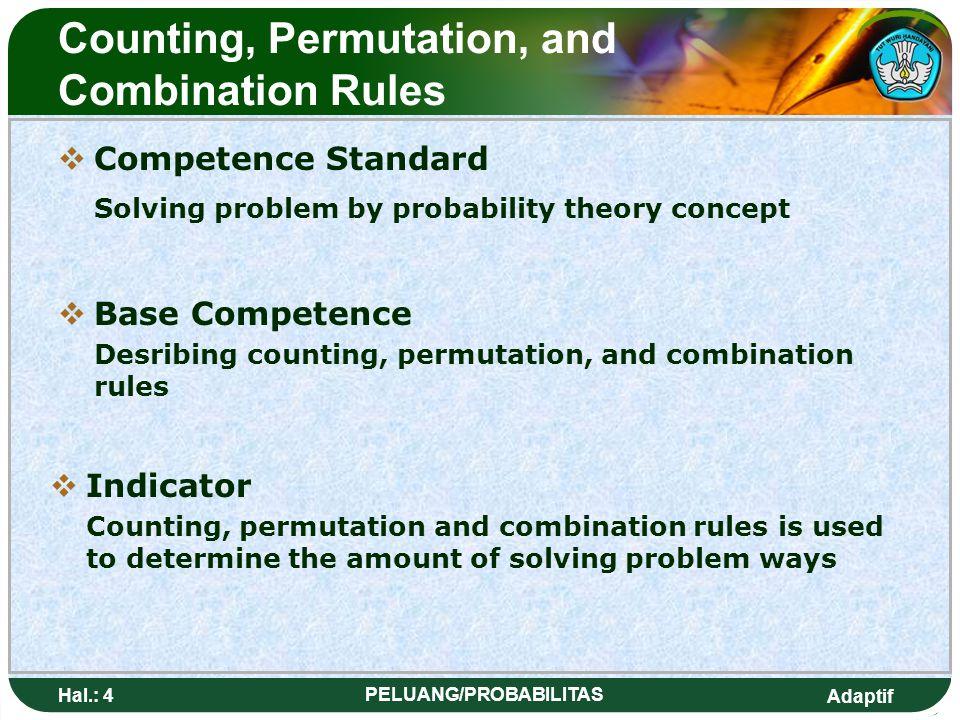 Adaptif Hal.: 3 PELUANG/PROBABILITAS Kaidah Pencacahan, permutasi dan kombinasi SStandar Kompetensi Memecahkan masalah dengan konsep teori peluang 