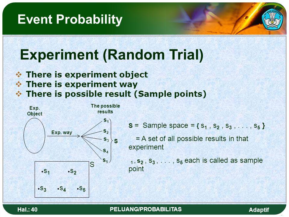 Adaptif Hal.: 39 PELUANG/PROBABILITAS Peluang Kejadian Eksperimen (Percobaan Acak) AAda Obyek Eksperimen AAda Cara Eksperimen AAda Hasil-hasil Y