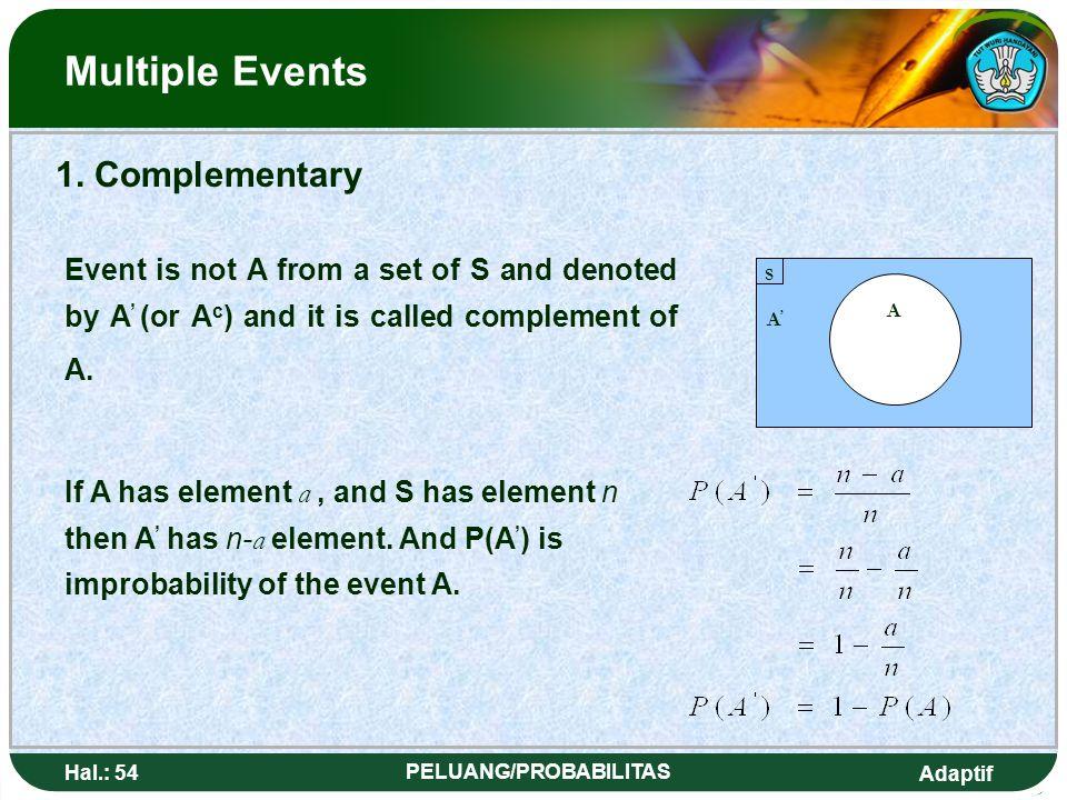 Adaptif Hal.: 53 PELUANG/PROBABILITAS Kejadian Majemuk A' A' S A Jika A mempunyai a elemen, dan S mempunyai n elemen maka A ' mempunyai n- a elemen. M