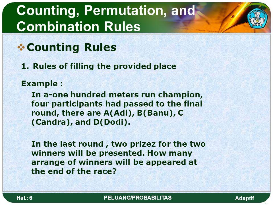 Adaptif Hal.: 5 PELUANG/PROBABILITAS Kaidah Pencacahan, permutasi dan kombinasi  Kaidah pencacahan 1. Aturan pengisian tempat yang tersedia Contoh: P