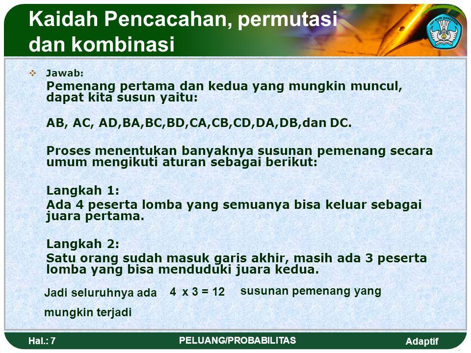 Adaptif Hal.: 27 PELUANG/PROBABILITAS Masalah Kombinasi NoObyek Eksp.Cara Eksp.Kemungkinan yang dapat hadir 1O = {A,B,C,D} Diundang 2 orang wakilnya untuk rapat keluarga AB = c 1 AC = c 2 AD = c 3 BC = c 4 BD = c 5 CD = c 6 2O = {A,B,C,D} Diundang 3 orang wakilnya untuk rapat keluarga ABC = c 1 ABD = c 2 ACD = c 3 BCD = c 4