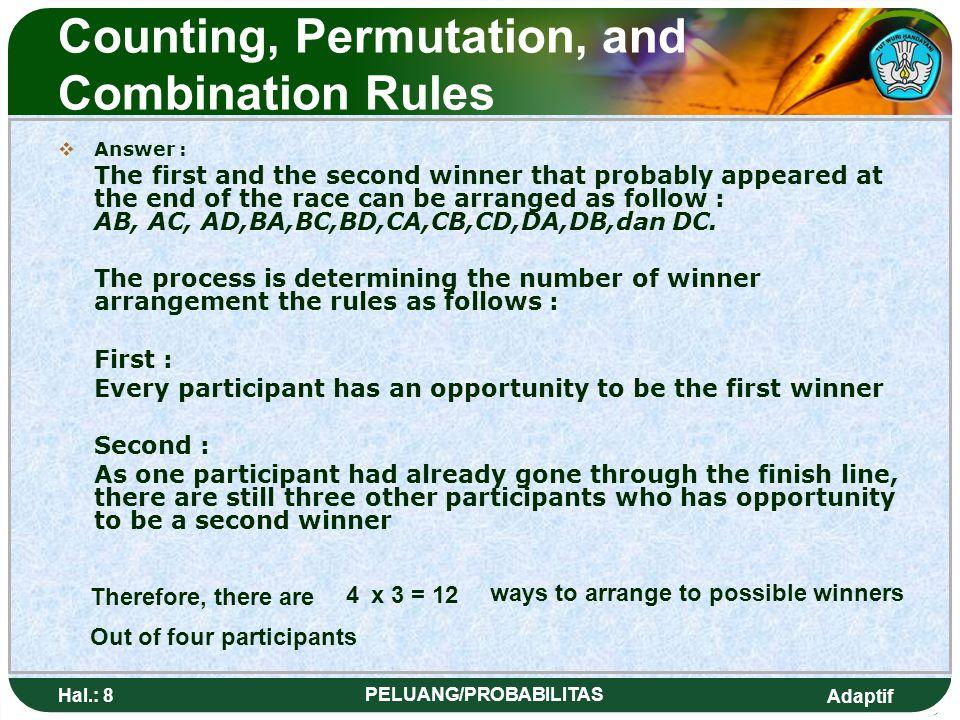 Adaptif Hal.: 48 PELUANG/PROBABILITAS Event Probability 2.