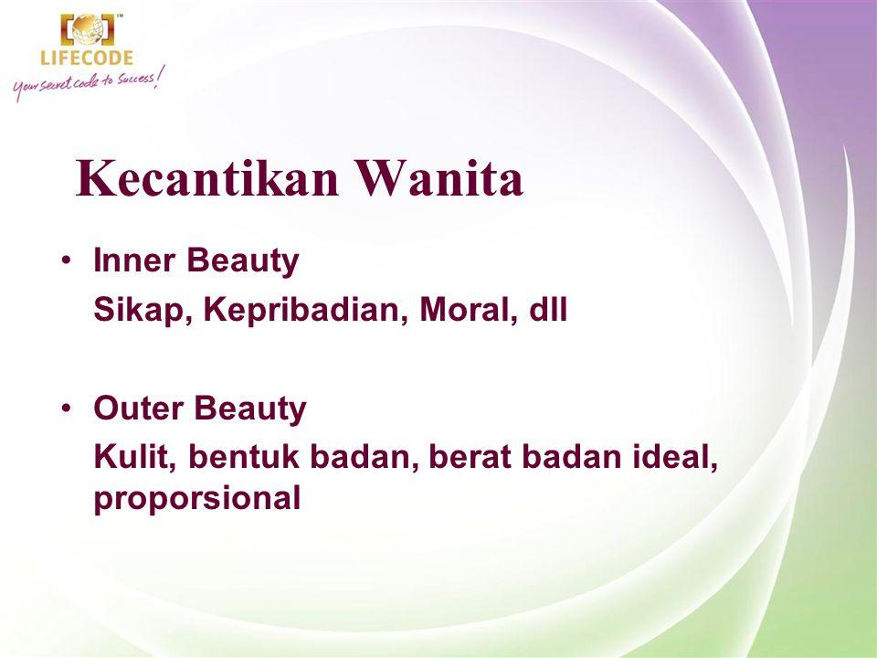 Kecantikan Wanita Inner Beauty Sikap, Kepribadian, Moral, dll Outer Beauty Kulit, bentuk badan, berat badan ideal, proporsional