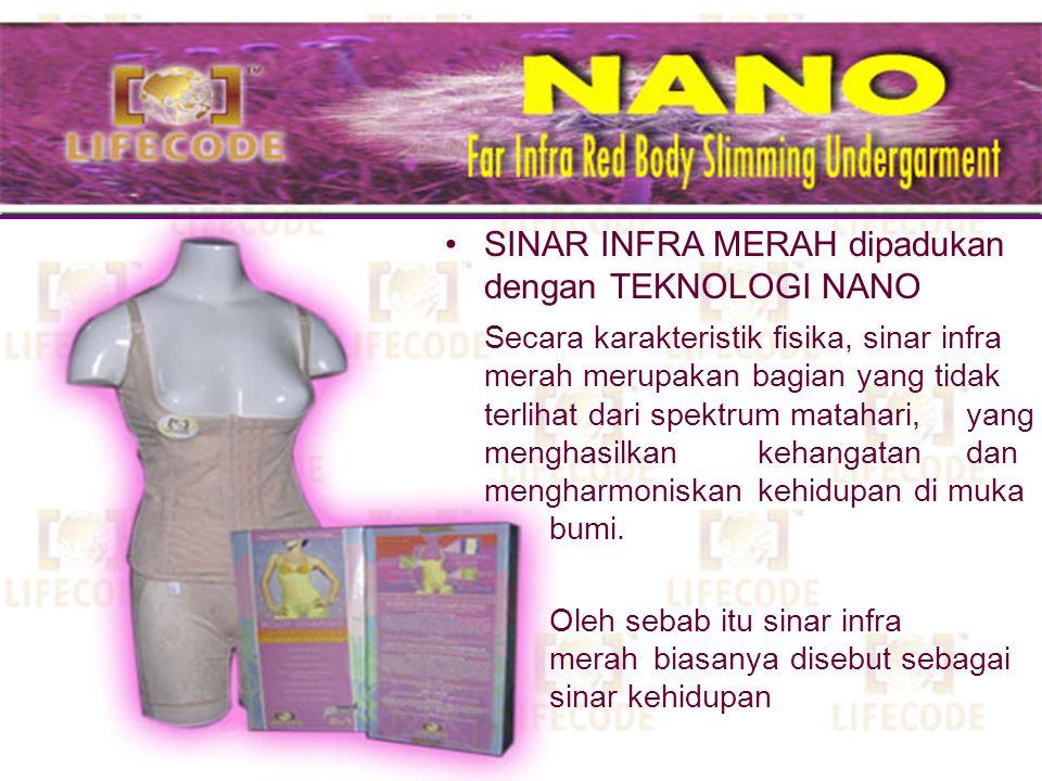 SINAR INFRA MERAH dipadukan dengan TEKNOLOGI NANO ION NEGATIF dan GELOMBANG ELEKTROMAGNETIK Terbuat dari bahan TITANIUM dan serat anti kuman Memiliki