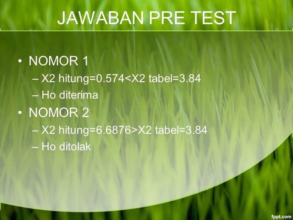 JAWABAN PRE TEST NOMOR 1 –X2 hitung=0.574<X2 tabel=3.84 –Ho diterima NOMOR 2 –X2 hitung=6.6876>X2 tabel=3.84 –Ho ditolak