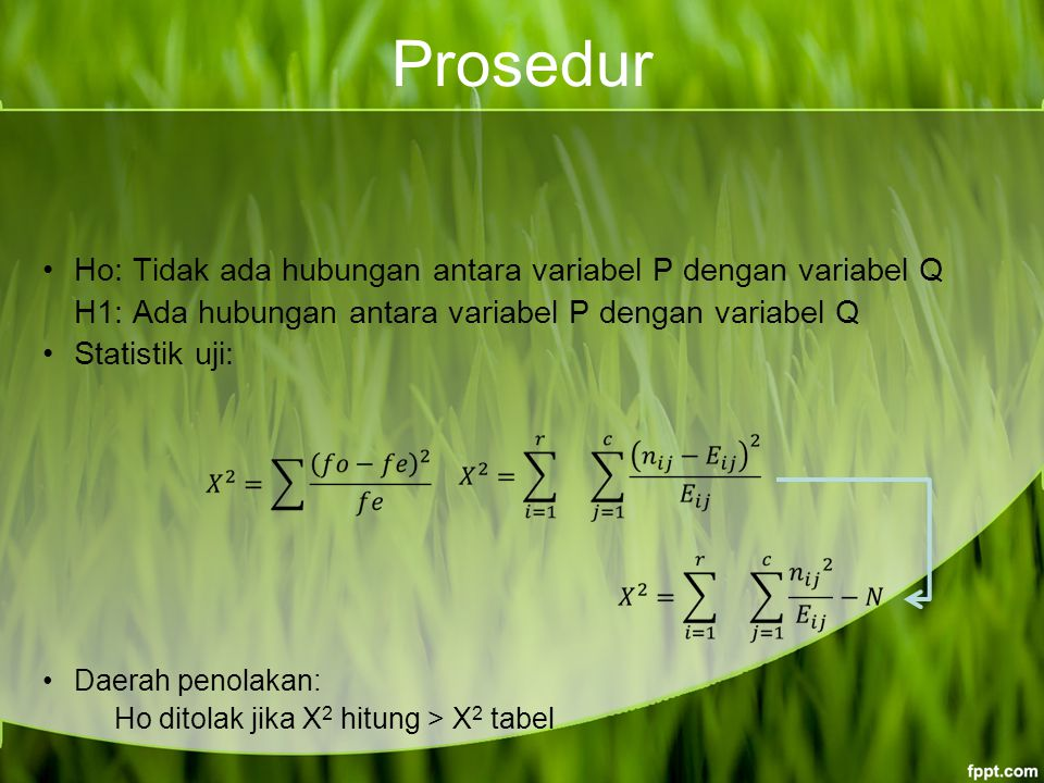 Prosedur Ho: Tidak ada hubungan antara variabel P dengan variabel Q H1: Ada hubungan antara variabel P dengan variabel Q Statistik uji: Daerah penolakan: Ho ditolak jika X 2 hitung > X 2 tabel