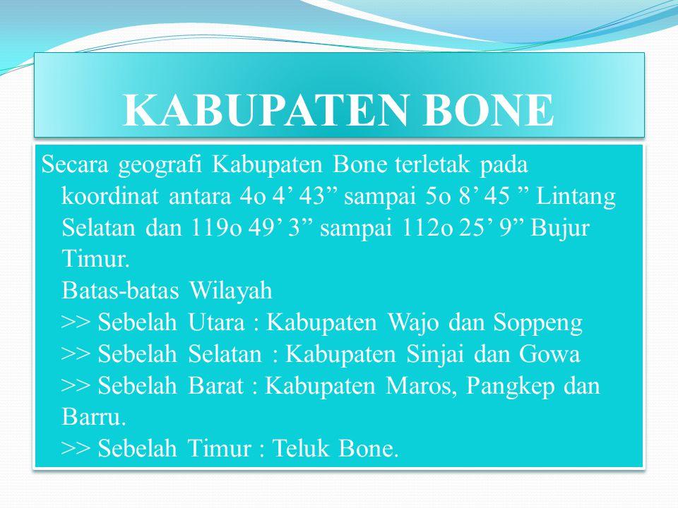 KABUPATEN BONE Secara geografi Kabupaten Bone terletak pada koordinat antara 4o 4' 43 sampai 5o 8' 45 Lintang Selatan dan 119o 49' 3 sampai 112o 25' 9 Bujur Timur.
