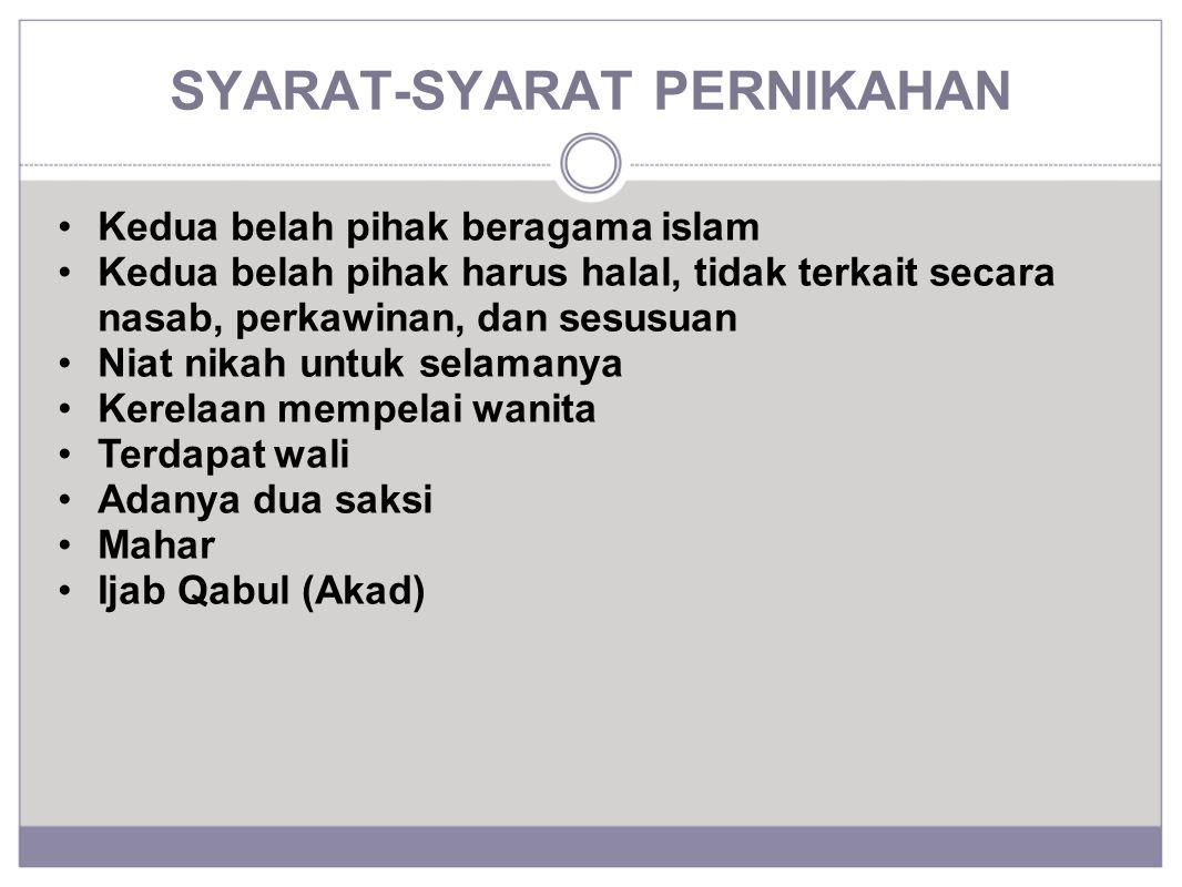 SYARAT-SYARAT PERNIKAHAN Kedua belah pihak beragama islam Kedua belah pihak harus halal, tidak terkait secara nasab, perkawinan, dan sesusuan Niat nik