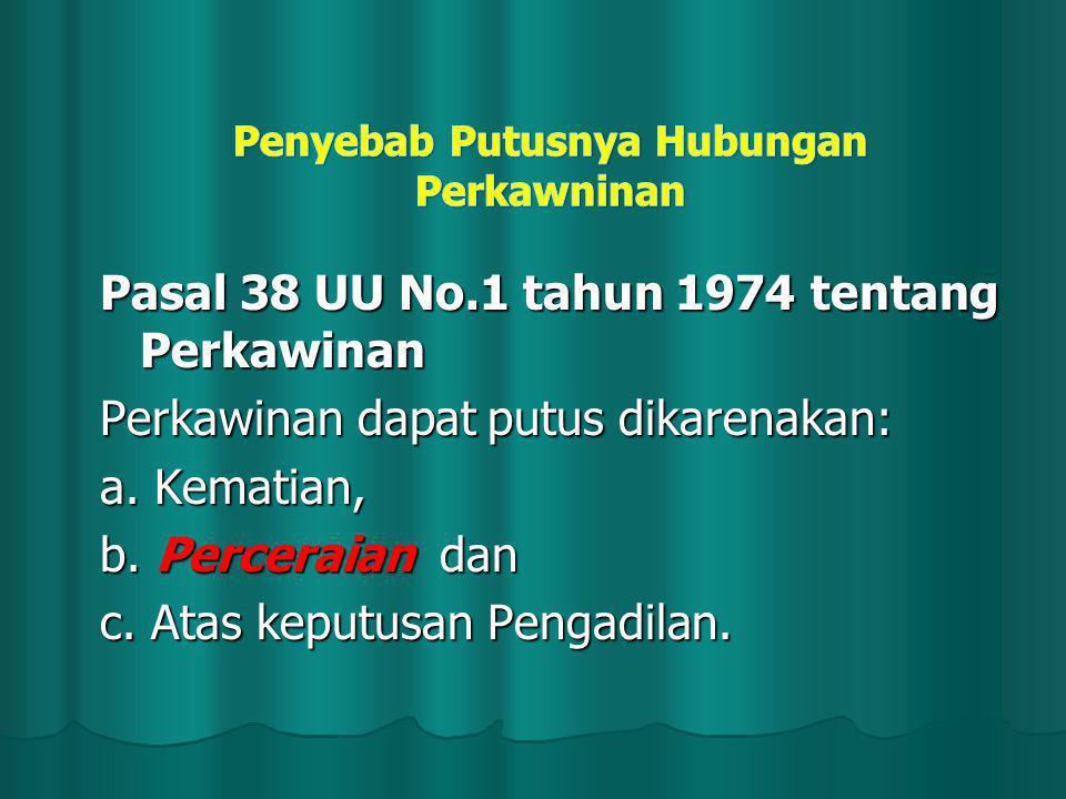 Pasal 38 UU No.1 tahun 1974 tentang Perkawinan Perkawinan dapat putus dikarenakan: a. Kematian, b. Perceraian dan c. Atas keputusan Pengadilan.