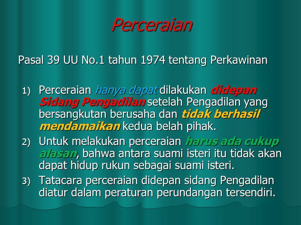 Pasal 39 UU No.1 tahun 1974 tentang Perkawinan 1) Perceraian hanya dapat dilakukan didepan Sidang Pengadilan setelah Pengadilan yang bersangkutan beru