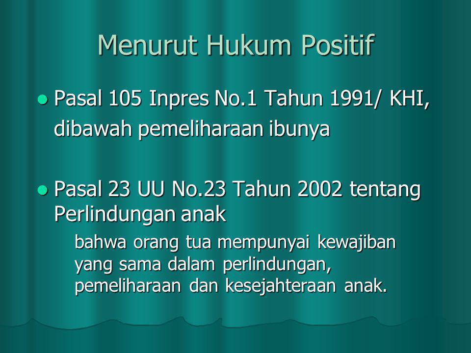 Pasal 105 Inpres No.1 Tahun 1991/ KHI, Pasal 105 Inpres No.1 Tahun 1991/ KHI, dibawah pemeliharaan ibunya Pasal 23 UU No.23 Tahun 2002 tentang Perlindungan anak Pasal 23 UU No.23 Tahun 2002 tentang Perlindungan anak bahwa orang tua mempunyai kewajiban yang sama dalam perlindungan, pemeliharaan dan kesejahteraan anak.