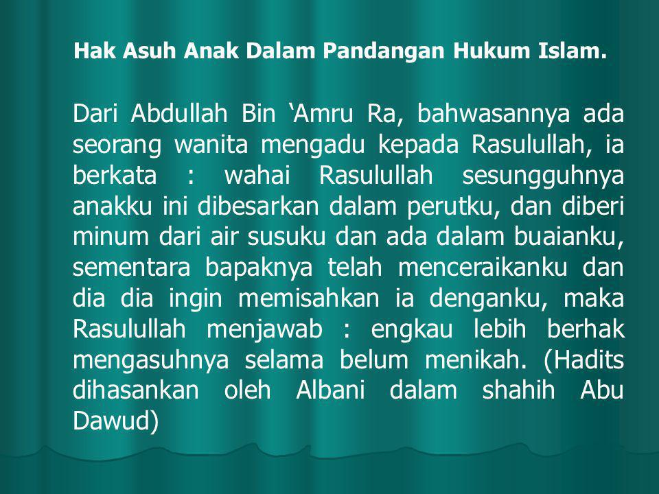 Hak Asuh Anak Dalam Pandangan Hukum Islam. Dari Abdullah Bin 'Amru Ra, bahwasannya ada seorang wanita mengadu kepada Rasulullah, ia berkata : wahai Ra