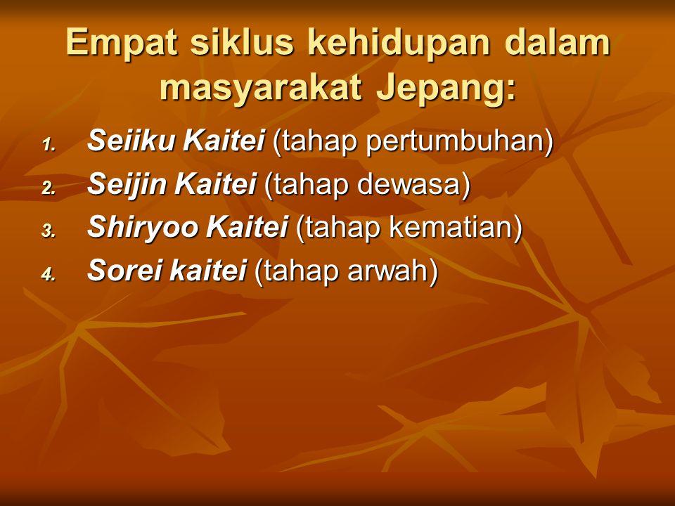 Empat siklus kehidupan dalam masyarakat Jepang: 1. Seiiku Kaitei (tahap pertumbuhan) 2. Seijin Kaitei (tahap dewasa) 3. Shiryoo Kaitei (tahap kematian