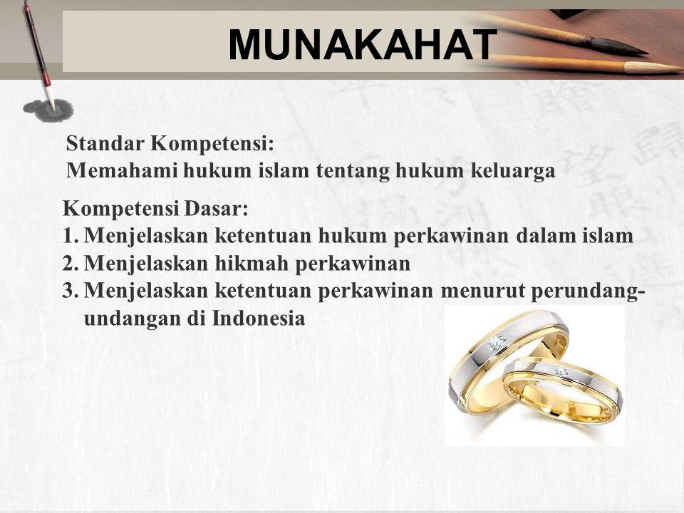 MUNAKAHAT Standar Kompetensi: Memahami hukum islam tentang hukum keluarga Kompetensi Dasar: 1.Menjelaskan ketentuan hukum perkawinan dalam islam 2.Men