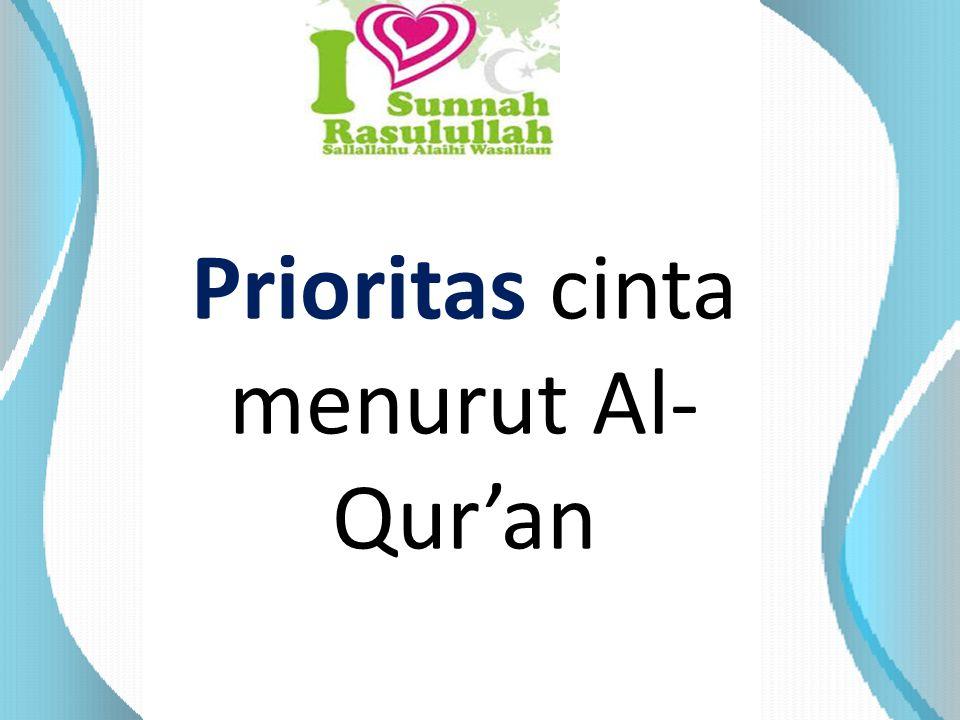 Prioritas cinta menurut Al- Qur'an