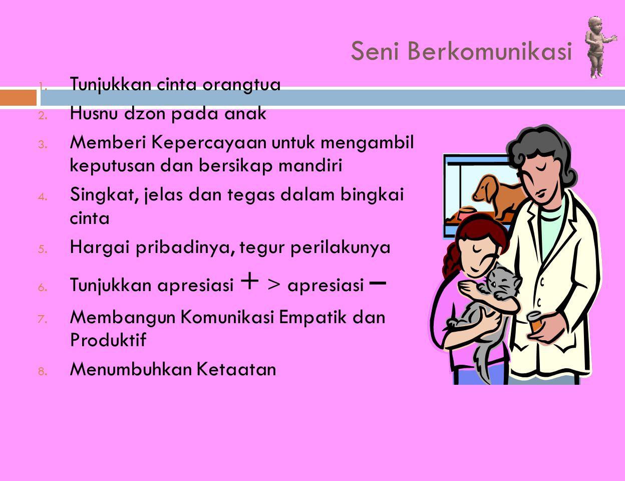 Seni Berkomunikasi 1. Tunjukkan cinta orangtua 2. Husnu dzon pada anak 3. Memberi Kepercayaan untuk mengambil keputusan dan bersikap mandiri 4. Singka