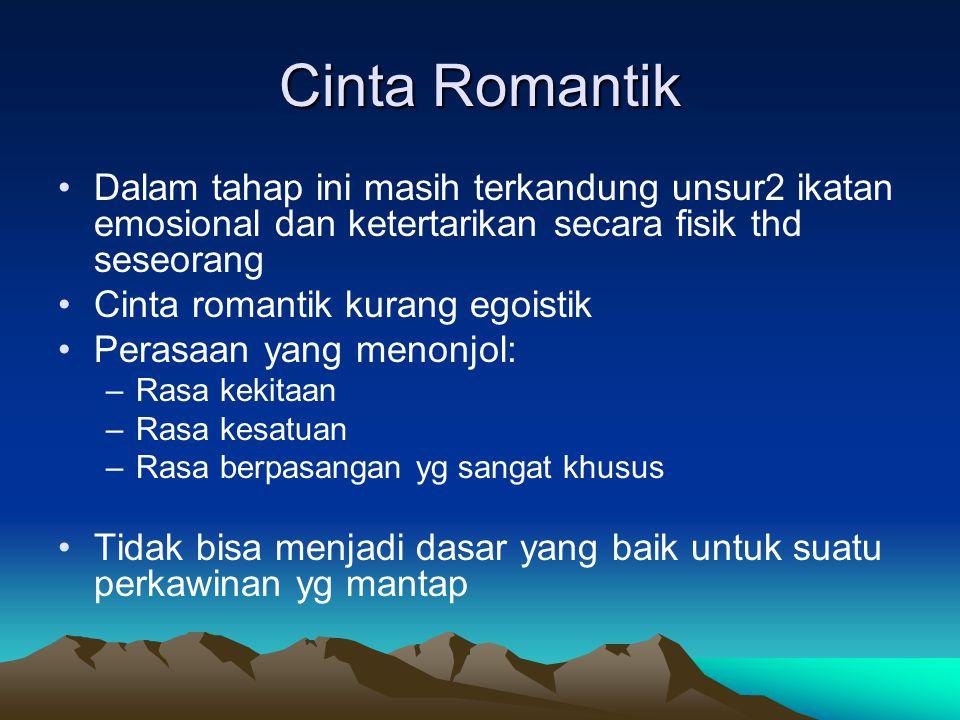 Cinta Romantik Dalam tahap ini masih terkandung unsur2 ikatan emosional dan ketertarikan secara fisik thd seseorang Cinta romantik kurang egoistik Per