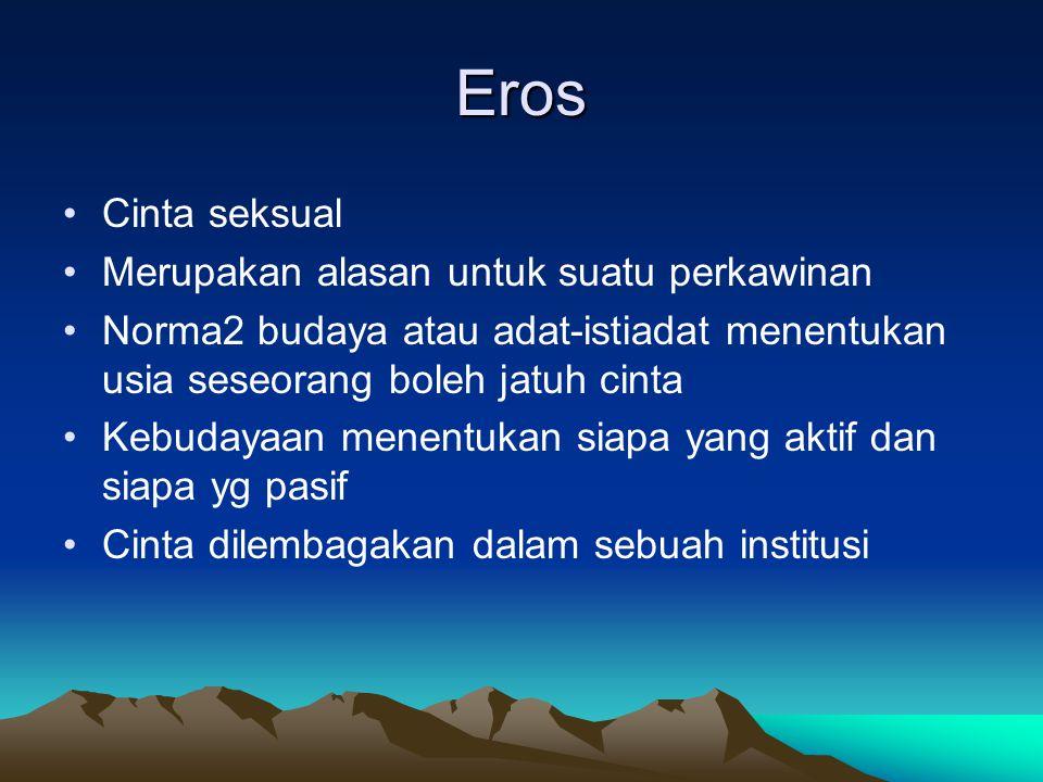 Eros Cinta seksual Merupakan alasan untuk suatu perkawinan Norma2 budaya atau adat-istiadat menentukan usia seseorang boleh jatuh cinta Kebudayaan men