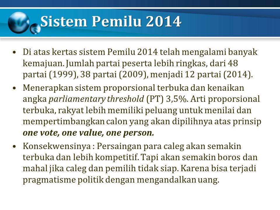 Sistem Pemilu 2014 Di atas kertas sistem Pemilu 2014 telah mengalami banyak kemajuan.