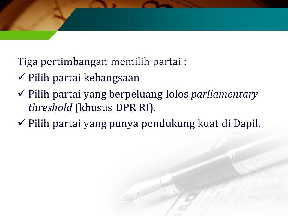 Tiga pertimbangan memilih partai : Pilih partai kebangsaan Pilih partai yang berpeluang lolos parliamentary threshold (khusus DPR RI).