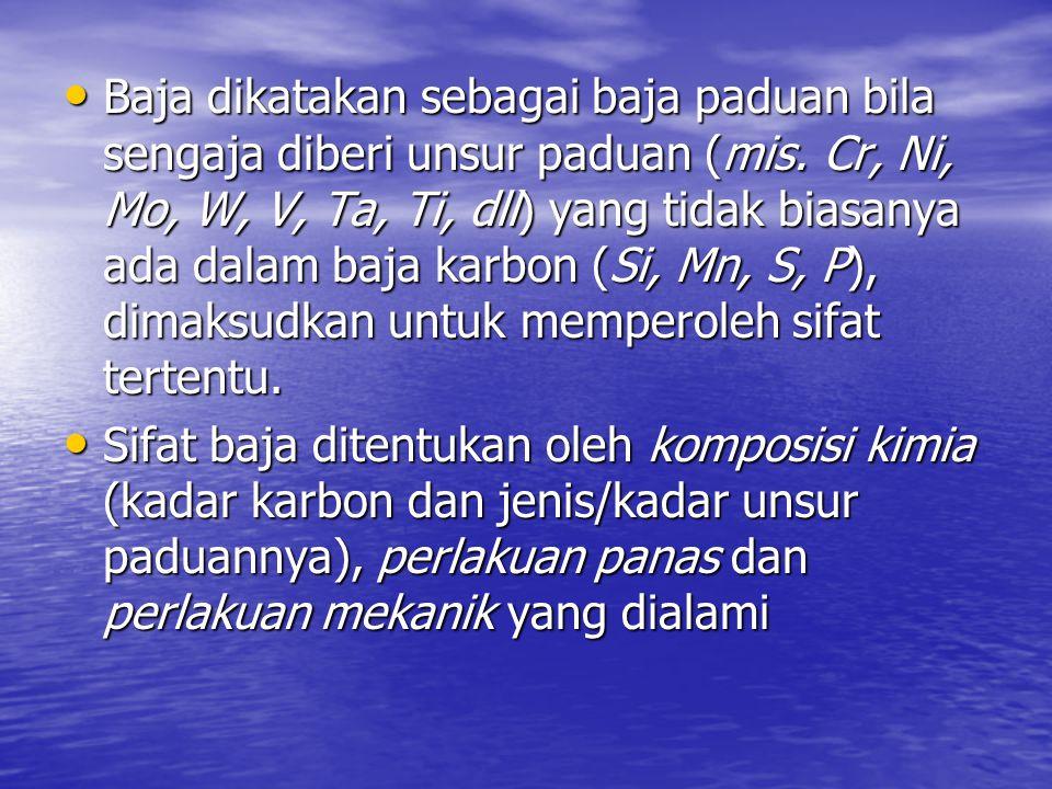 Baja dikatakan sebagai baja paduan bila sengaja diberi unsur paduan (mis. Cr, Ni, Mo, W, V, Ta, Ti, dll) yang tidak biasanya ada dalam baja karbon (Si