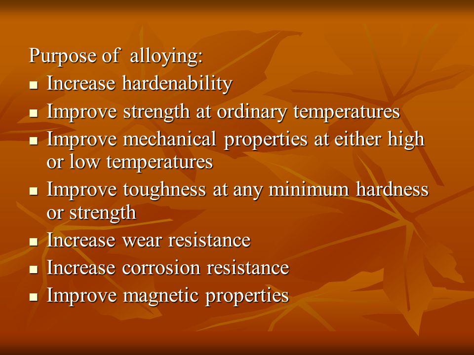 Purpose of alloying: Increase hardenability Increase hardenability Improve strength at ordinary temperatures Improve strength at ordinary temperatures