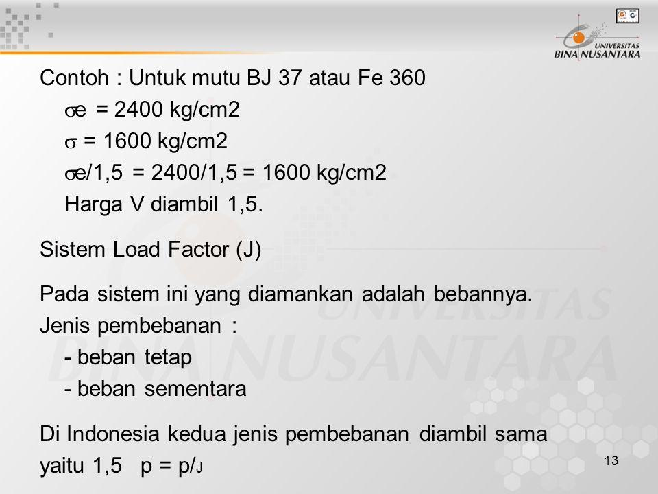 13 Contoh : Untuk mutu BJ 37 atau Fe 360  e = 2400 kg/cm2  = 1600 kg/cm2  e/1,5 = 2400/1,5 = 1600 kg/cm2 Harga V diambil 1,5. Sistem Load Factor (J