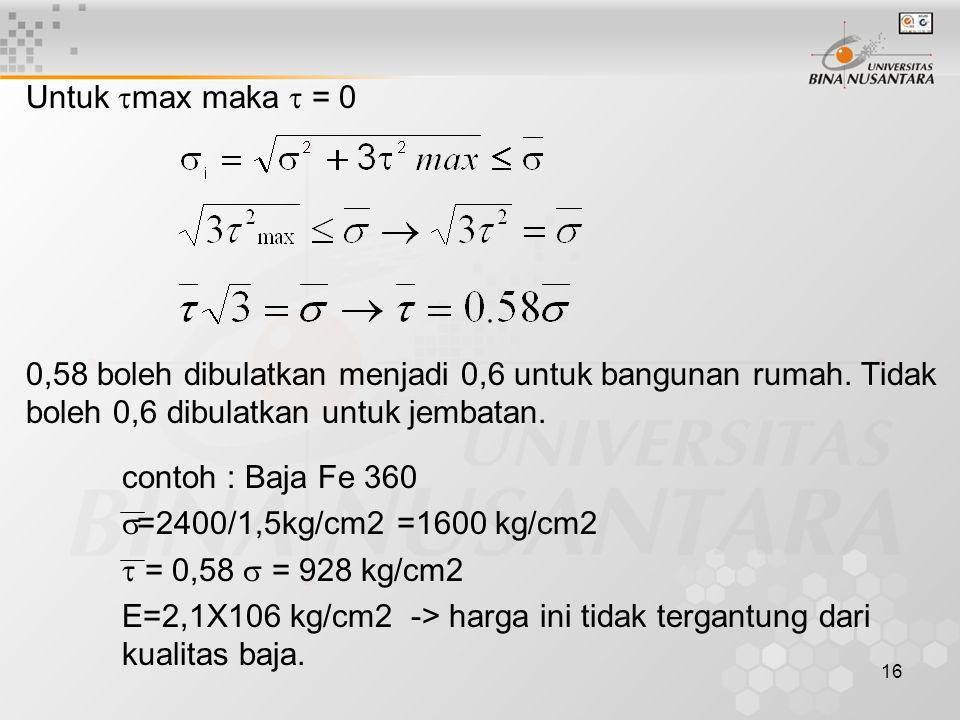 16 Untuk  max maka  = 0 0,58 boleh dibulatkan menjadi 0,6 untuk bangunan rumah. Tidak boleh 0,6 dibulatkan untuk jembatan. contoh : Baja Fe 360  =2