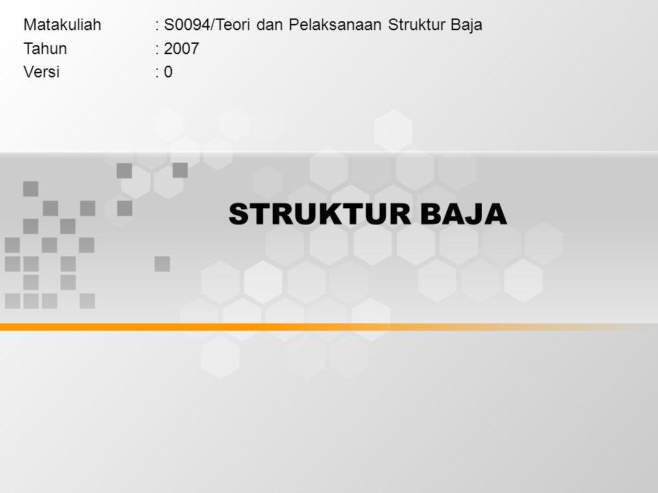 STRUKTUR BAJA Matakuliah: S0094/Teori dan Pelaksanaan Struktur Baja Tahun: 2007 Versi: 0