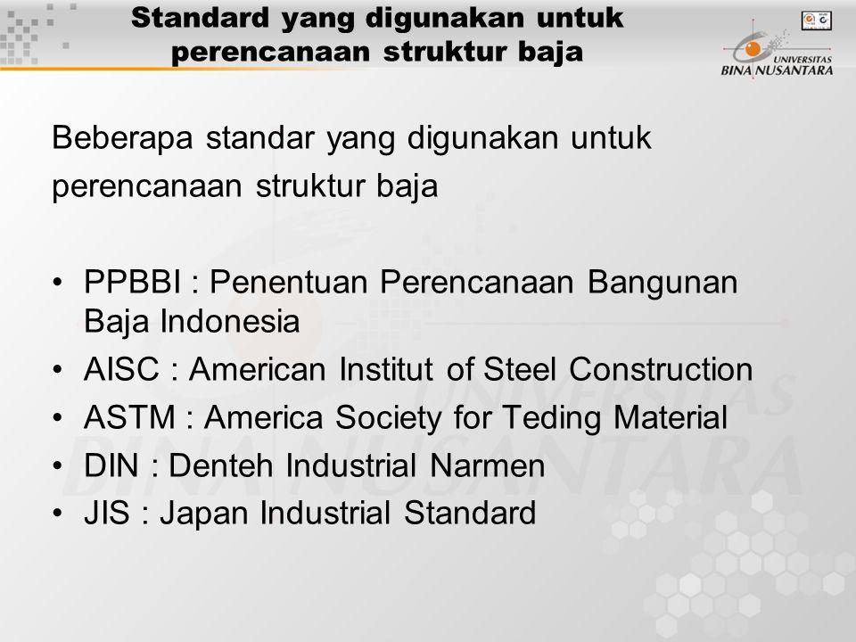 Standard yang digunakan untuk perencanaan struktur baja Beberapa standar yang digunakan untuk perencanaan struktur baja PPBBI : Penentuan Perencanaan
