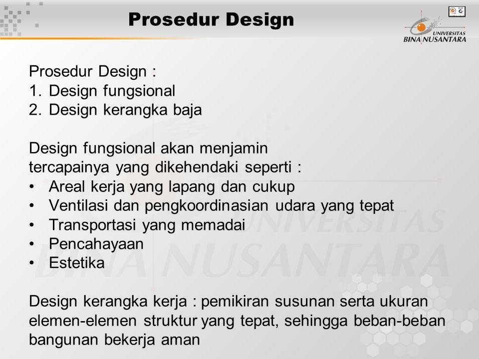 Prosedur Design Prosedur Design : 1.Design fungsional 2.Design kerangka baja Design fungsional akan menjamin tercapainya yang dikehendaki seperti : Ar