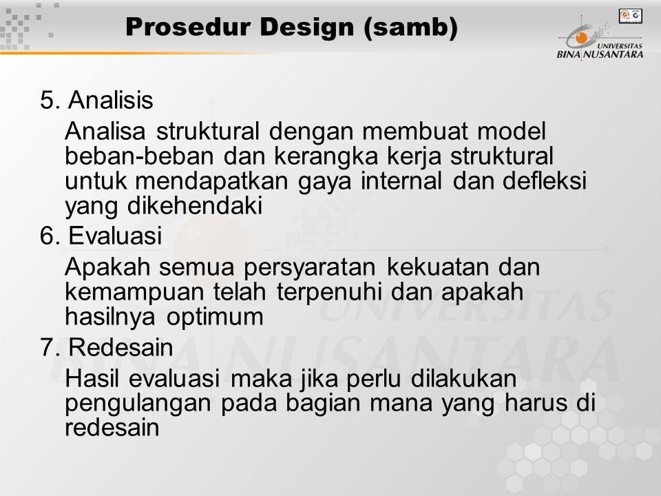 Prosedur Design (samb) 5. Analisis Analisa struktural dengan membuat model beban-beban dan kerangka kerja struktural untuk mendapatkan gaya internal d