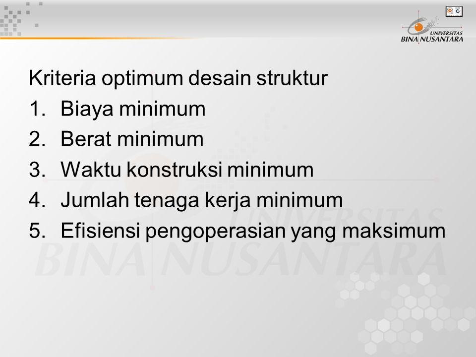 Kriteria optimum desain struktur 1.Biaya minimum 2.Berat minimum 3.Waktu konstruksi minimum 4.Jumlah tenaga kerja minimum 5.Efisiensi pengoperasian ya