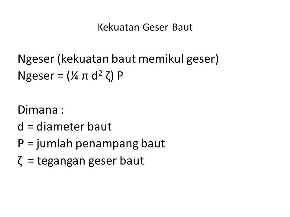 Kekuatan Geser Baut Ngeser (kekuatan baut memikul geser) Ngeser = (¼ π d 2 ζ) P Dimana : d = diameter baut P = jumlah penampang baut ζ = tegangan gese