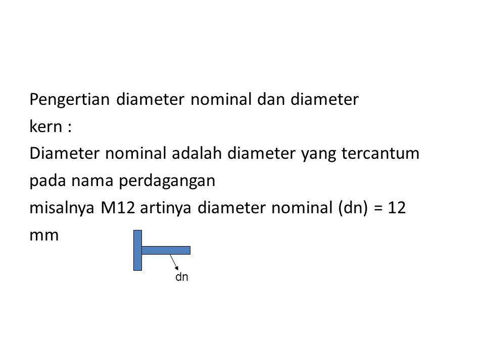 Pengertian diameter nominal dan diameter kern : Diameter nominal adalah diameter yang tercantum pada nama perdagangan misalnya M12 artinya diameter no