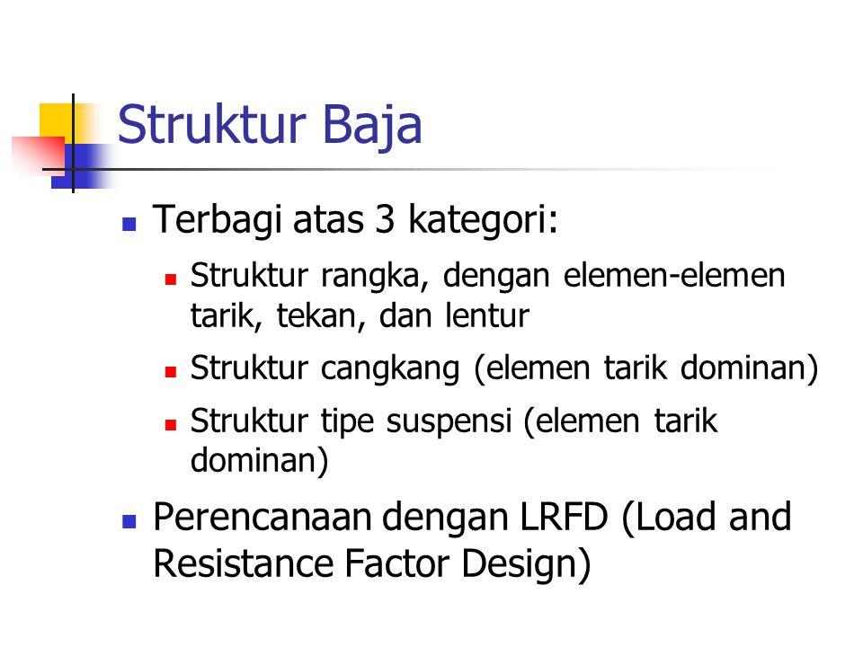 Struktur Baja Terbagi atas 3 kategori: Struktur rangka, dengan elemen-elemen tarik, tekan, dan lentur Struktur cangkang (elemen tarik dominan) Struktu