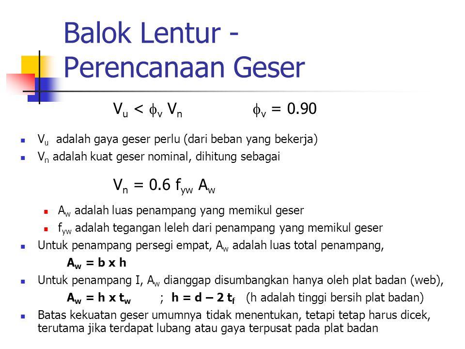 Balok Lentur - Perencanaan Geser V u <  v V n  v = 0.90 V u adalah gaya geser perlu (dari beban yang bekerja) V n adalah kuat geser nominal, dihitun