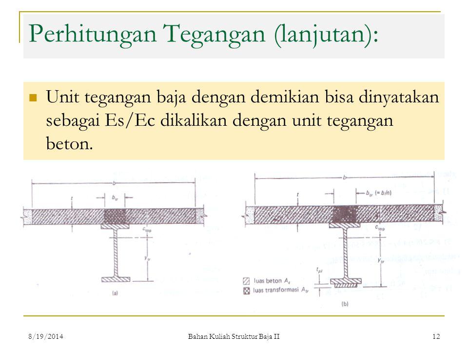 Bahan Kuliah Struktur Baja II 12 Perhitungan Tegangan (lanjutan): Unit tegangan baja dengan demikian bisa dinyatakan sebagai Es/Ec dikalikan dengan unit tegangan beton.