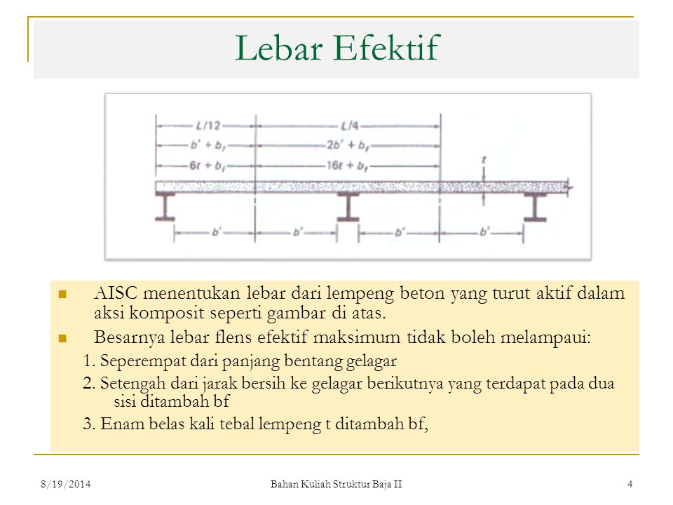 Bahan Kuliah Struktur Baja II 4 Lebar Efektif AISC menentukan lebar dari lempeng beton yang turut aktif dalam aksi komposit seperti gambar di atas. Be