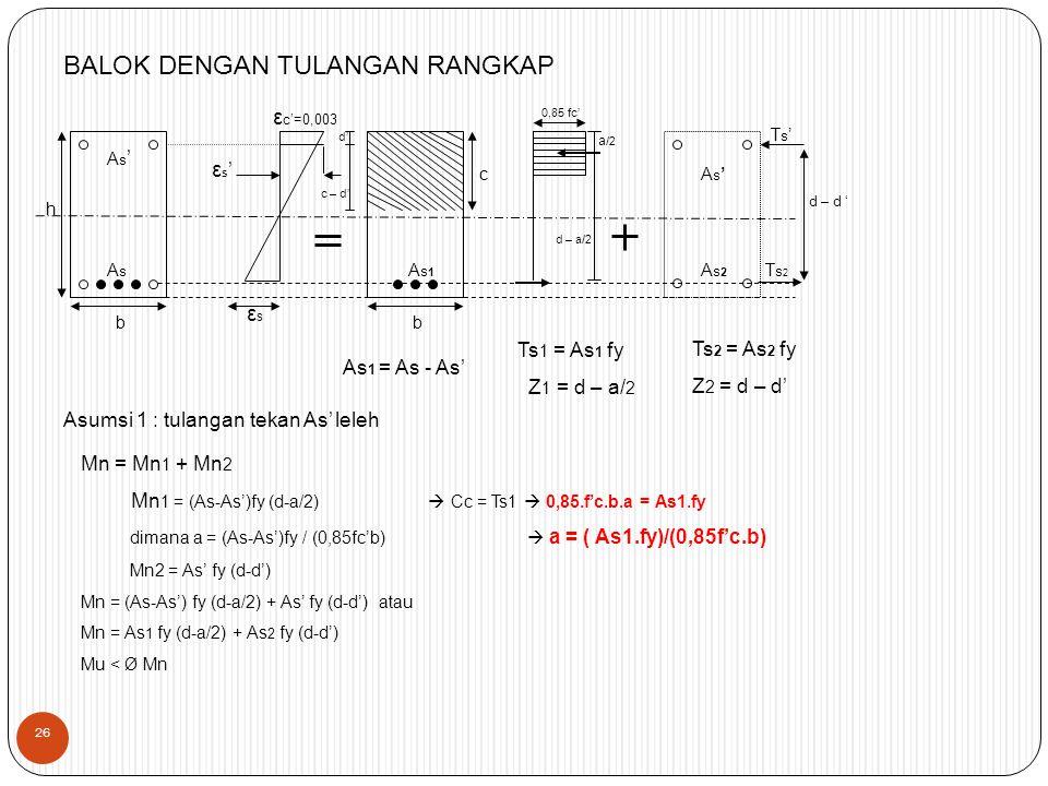 As'As' AsAs b h εs'εs' d' c – d' ε c'=0,003 εsεs As1As1 b c 0,85 fc' a /2 d – a/2 As2As2 As'As' Ts2Ts2 Ts'Ts' d – d ' BALOK DENGAN TULANGAN RANGKAP As 1 = As - As' Ts 1 = As 1 fy Z 1 = d – a/ 2 Ts 2 = As 2 fy Z 2 = d – d' Asumsi 1 : tulangan tekan As' leleh Mn = Mn 1 + Mn 2 Mn 1 = (As-As')fy (d-a/2)  Cc = Ts1  0,85.f'c.b.a = As1.fy dimana a = (As-As')fy / (0,85fc'b)  a = ( As1.fy)/(0,85f'c.b) Mn2 = As' fy (d-d') Mn = (As-As') fy (d-a/2) + As' fy (d-d') atau Mn = As 1 fy (d-a/2) + As 2 fy (d-d') Mu < Ø Mn 26